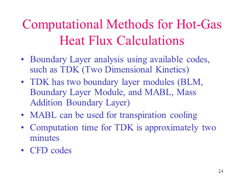 Computational Methods for Hot-Gas Heat Flux Calculations