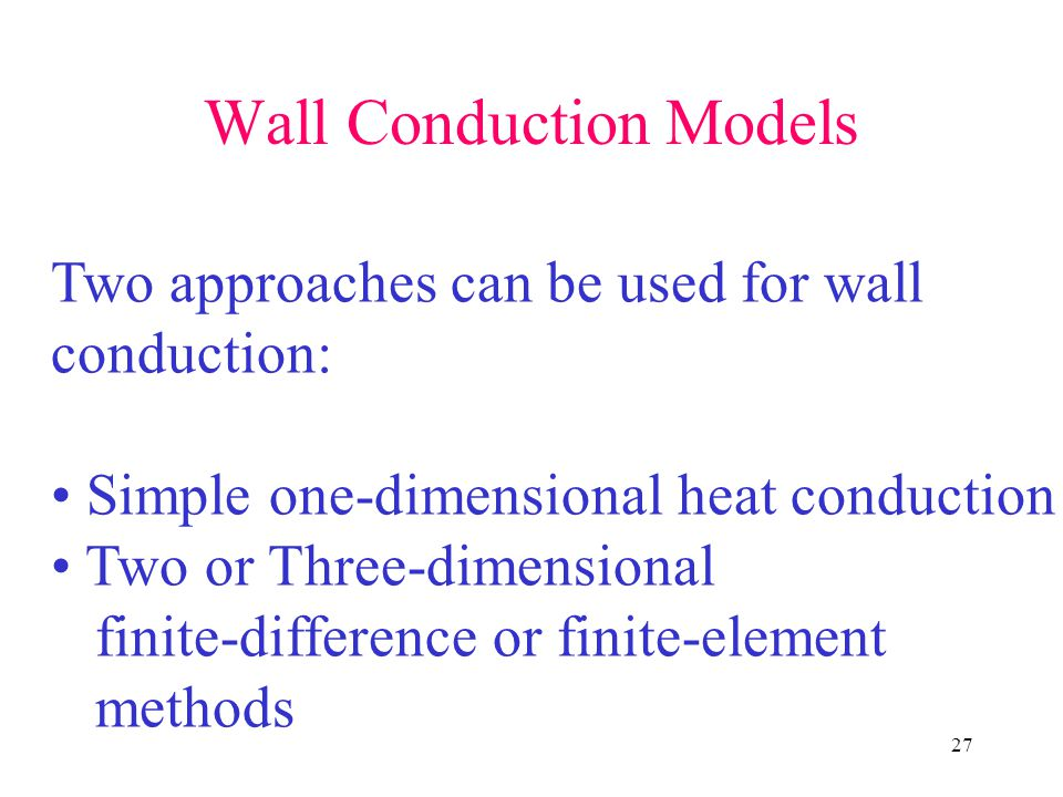 Wall Conduction Models