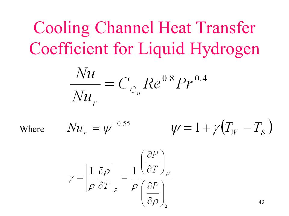 Cooling Channel Heat Transfer Coefficient for Liquid Hydrogen