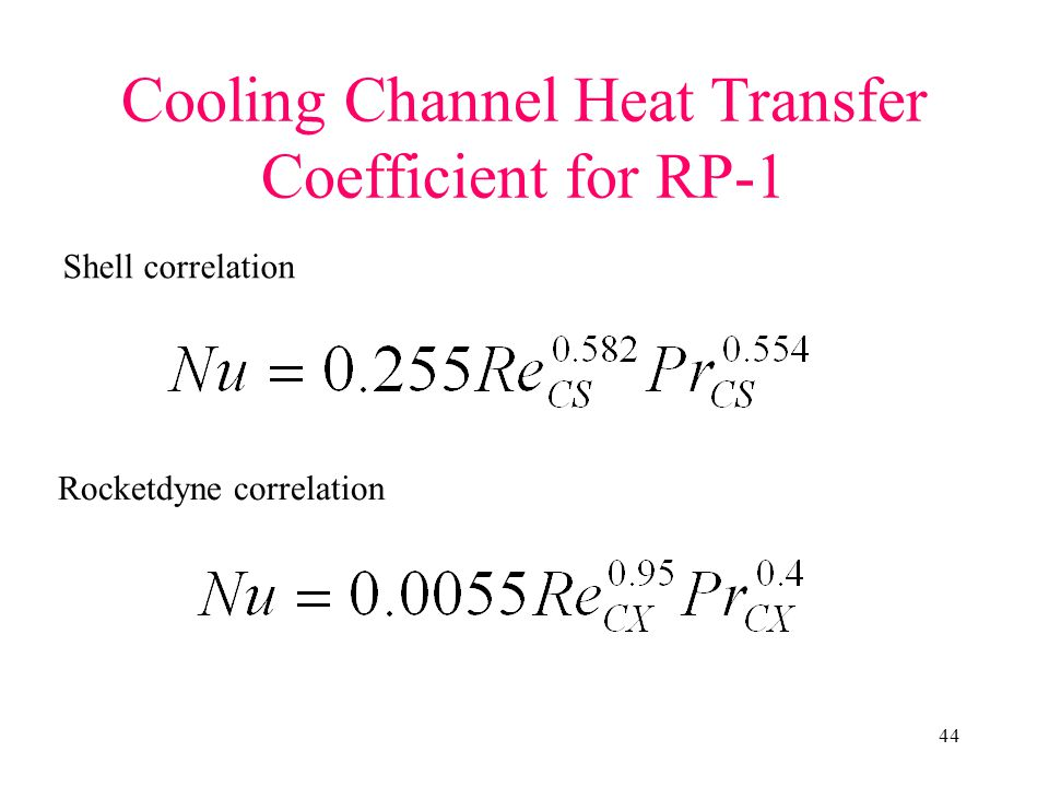 Cooling Channel Heat Transfer Coefficient for RP-1