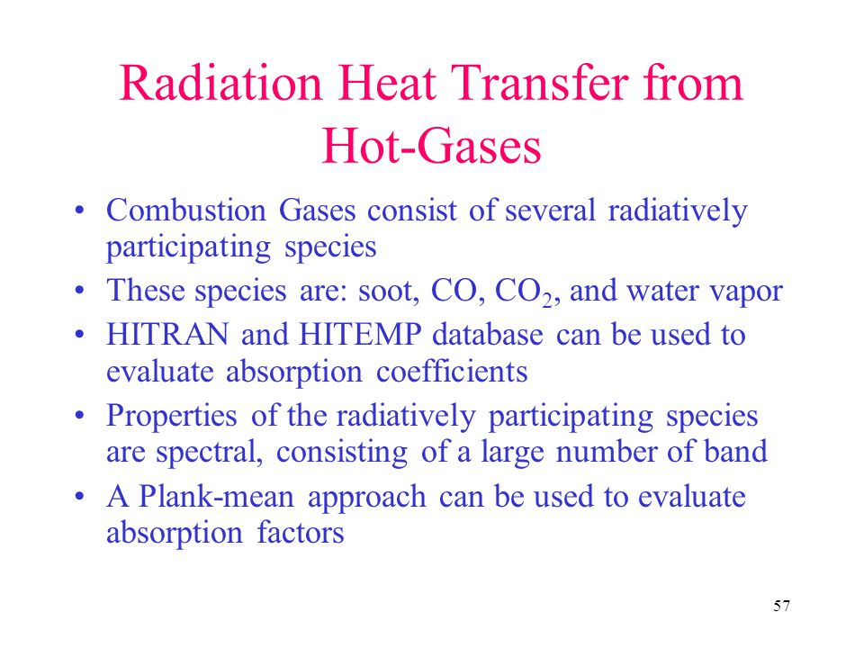 Radiation Heat Transfer from Hot-Gases
