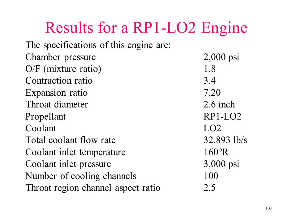 Results for a RP1-LO2 Engine