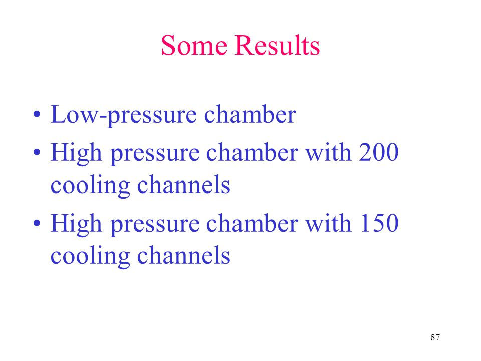 Some Results Low-pressure chamber