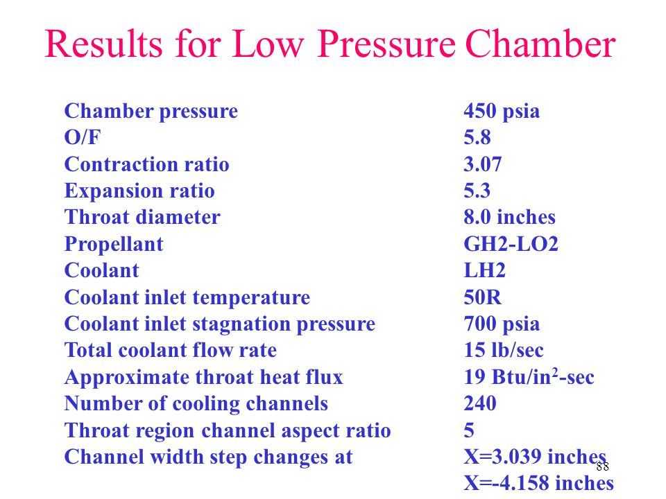 Results for Low Pressure Chamber