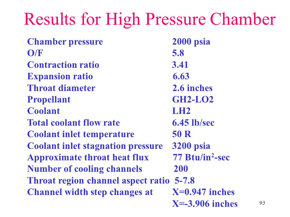 Results for High Pressure Chamber