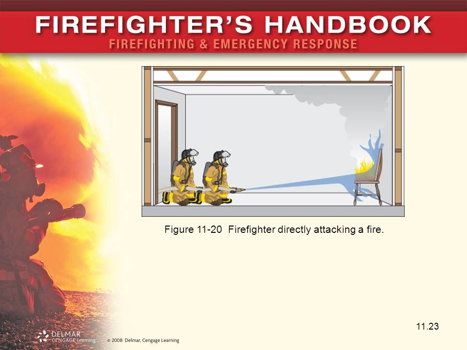 Figure 11-20 Firefighter directly attacking a fire.
