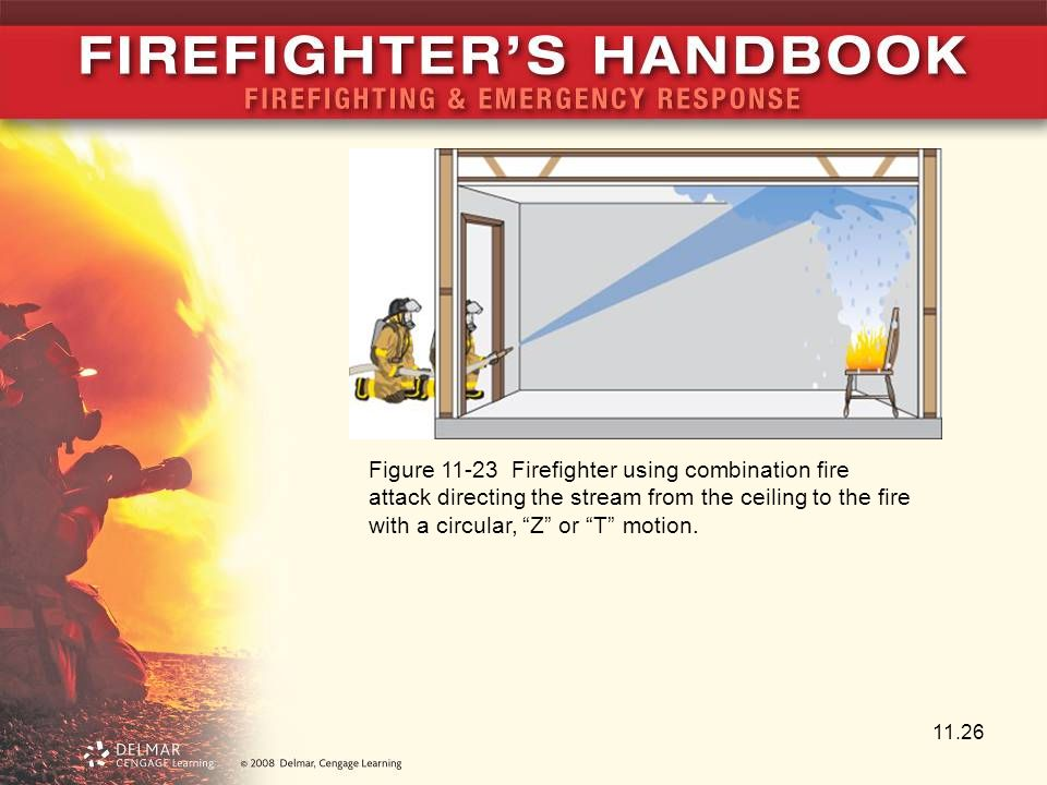 Figure 11-23 Firefighter using combination fire attack directing the stream from the ceiling to the fire with a circular, Z or T motion.