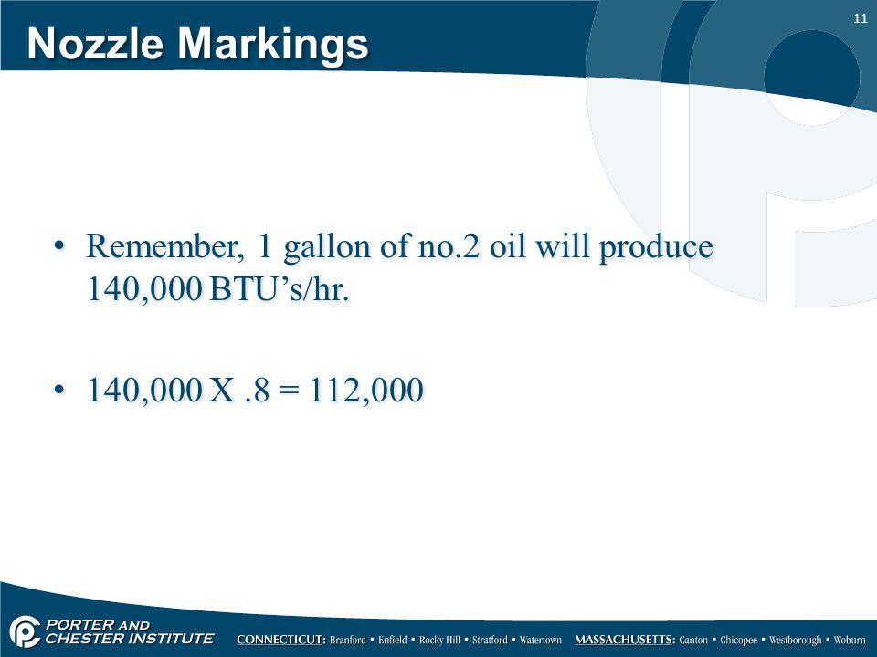 Nozzle Markings Remember, 1 gallon of no.2 oil will produce 140,000 BTU's/hr.