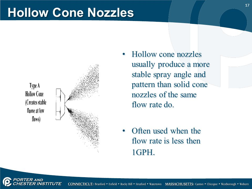 Hollow Cone Nozzles Hollow cone nozzles usually produce a more stable spray angle and pattern than solid cone nozzles of the same flow rate do.