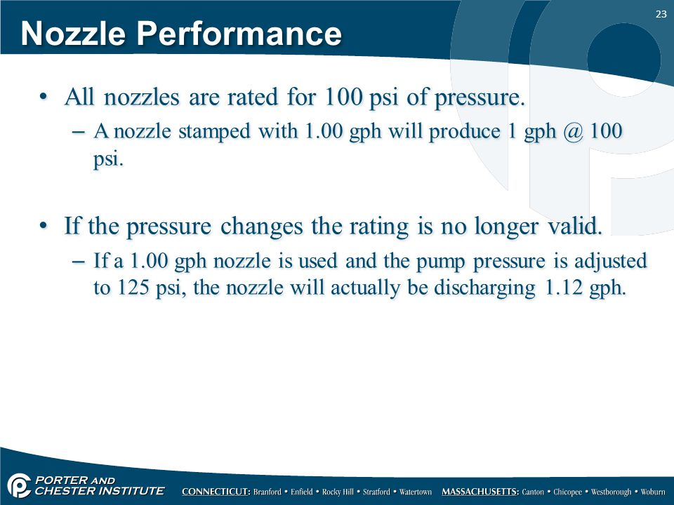 Nozzle Performance All nozzles are rated for 100 psi of pressure.