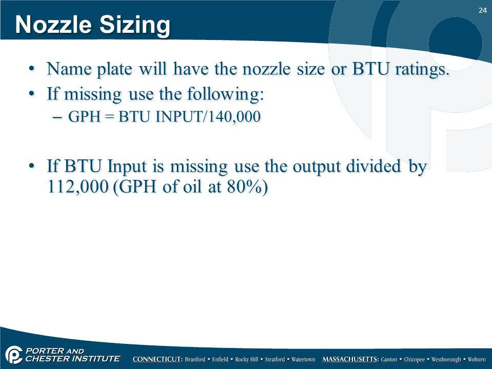 Nozzle Sizing Name plate will have the nozzle size or BTU ratings.