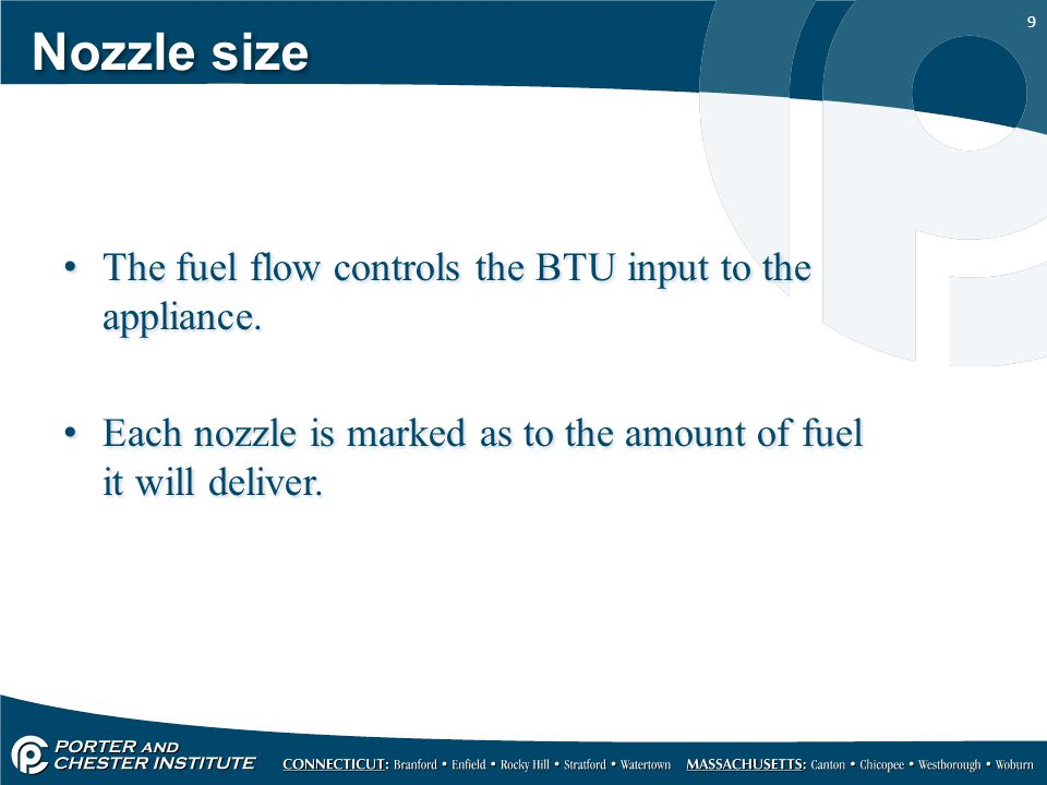 Nozzle size The fuel flow controls the BTU input to the appliance.