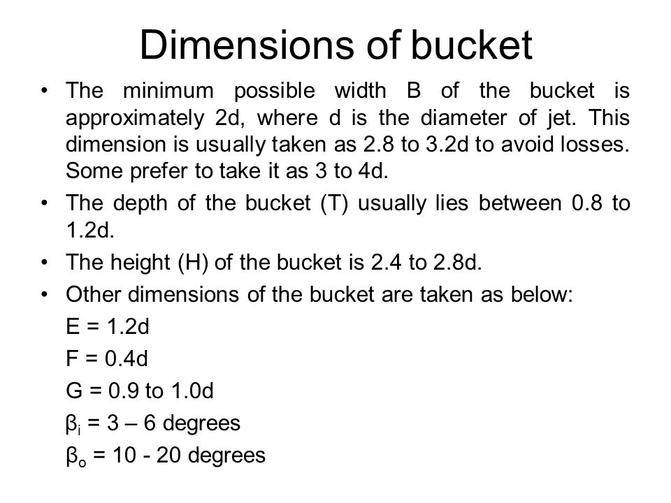 Dimensions of bucket