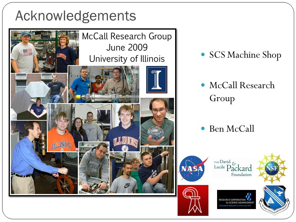 Acknowledgements SCS Machine Shop McCall Research Group Ben McCall