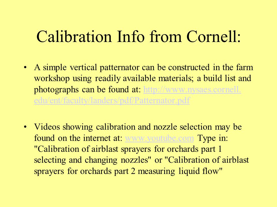 Calibration Info from Cornell: