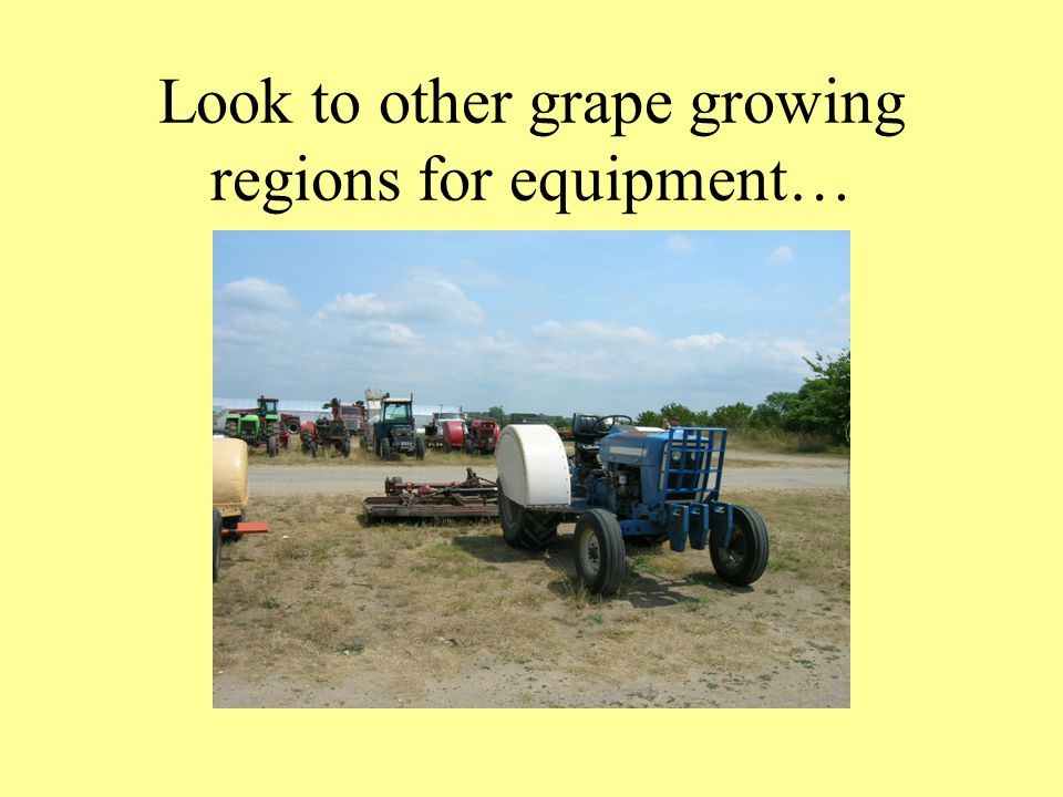 Look to other grape growing regions for equipment…