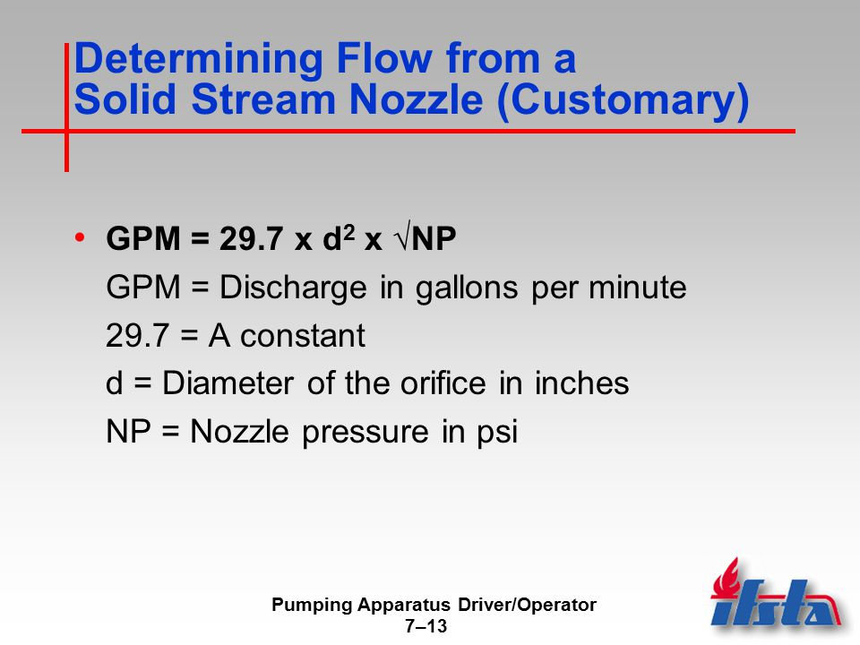 Determining Flow from a Solid Stream Nozzle (Metric)
