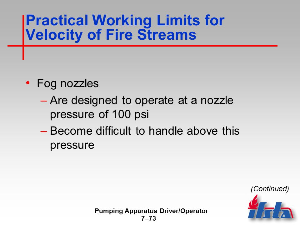 Practical Working Limits for Velocity of Fire Streams