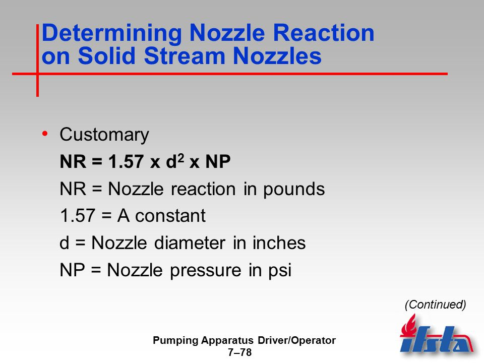Determining Nozzle Reaction on Solid Stream Nozzles