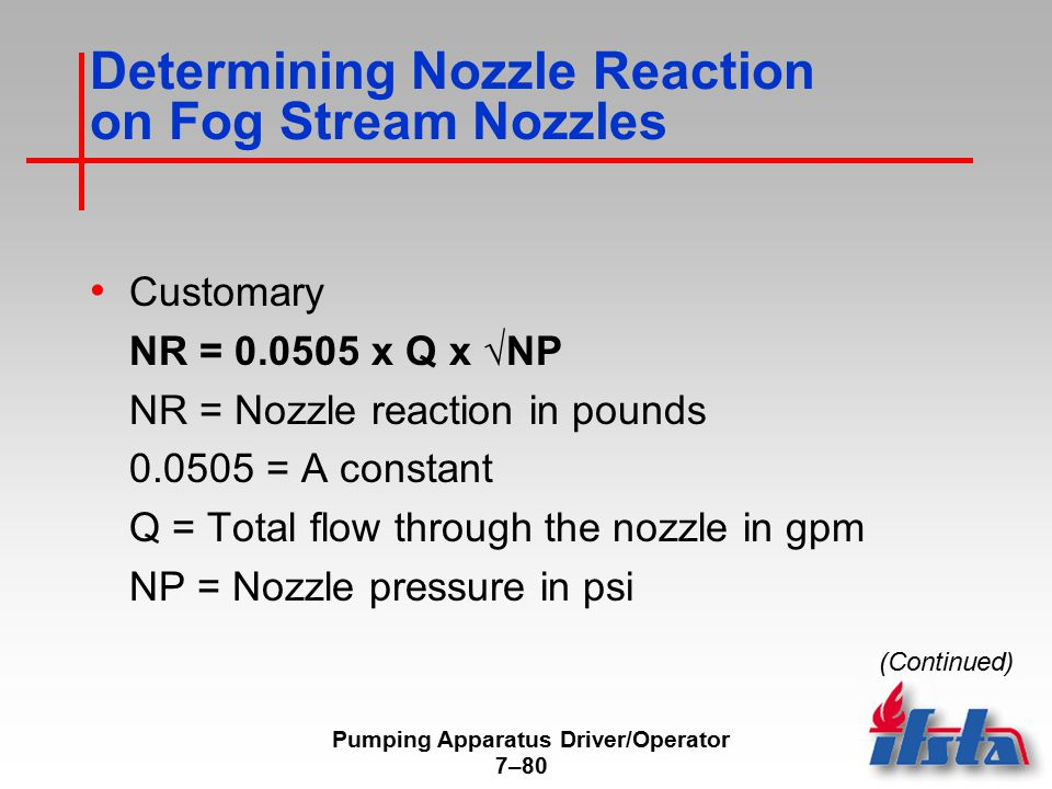 Determining Nozzle Reaction on Fog Stream Nozzles
