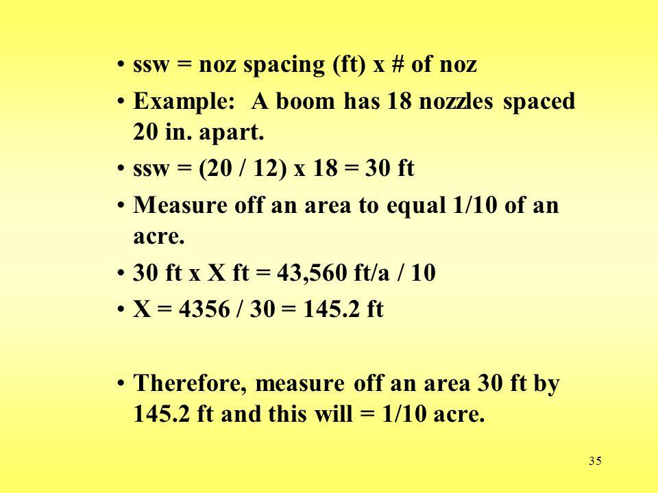 ssw = noz spacing (ft) x # of noz