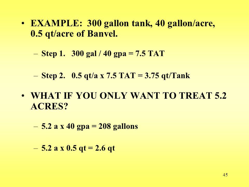 EXAMPLE: 300 gallon tank, 40 gallon/acre, 0.5 qt/acre of Banvel.