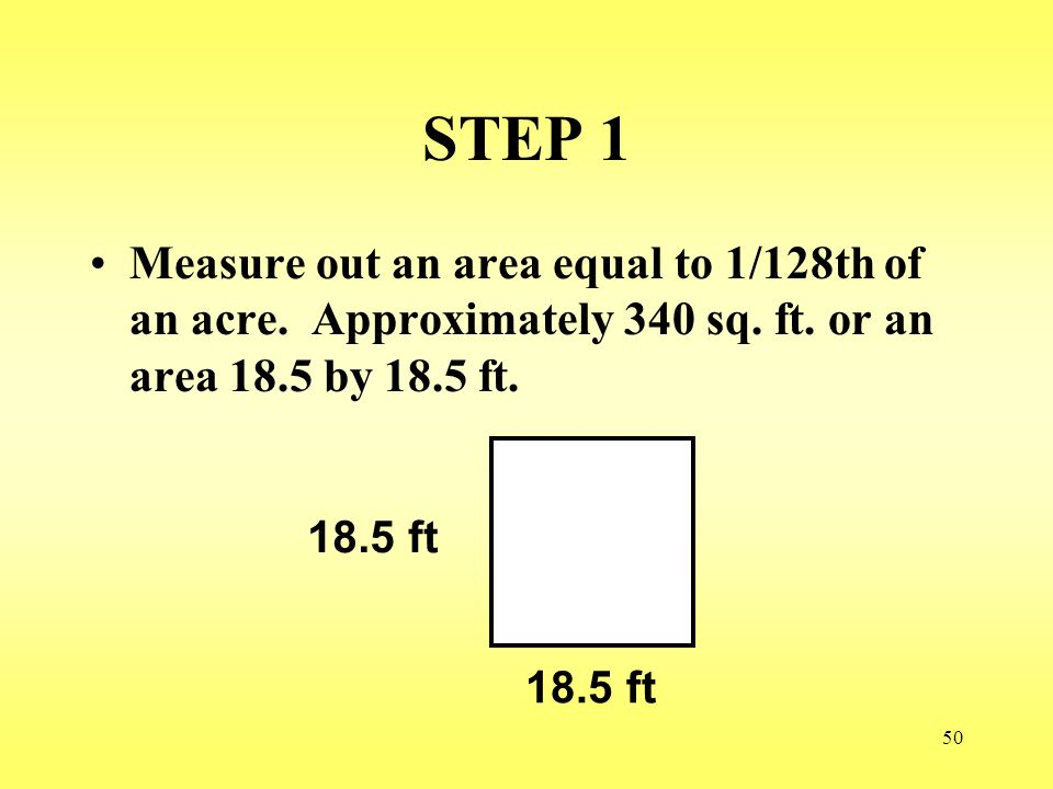 STEP 1 Measure out an area equal to 1/128th of an acre. Approximately 340 sq. ft. or an area 18.5 by 18.5 ft.