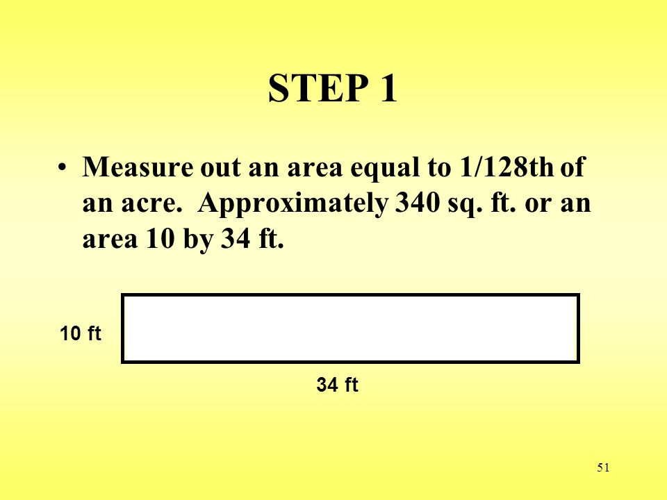 STEP 1 Measure out an area equal to 1/128th of an acre. Approximately 340 sq. ft. or an area 10 by 34 ft.