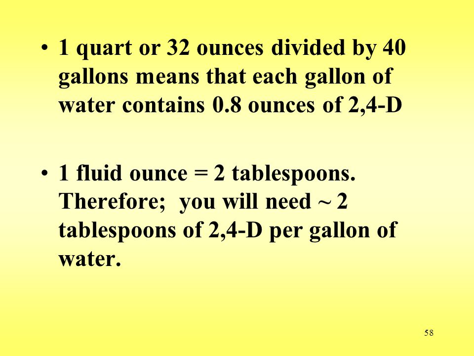 1 quart or 32 ounces divided by 40 gallons means that each gallon of water contains 0.8 ounces of 2,4-D