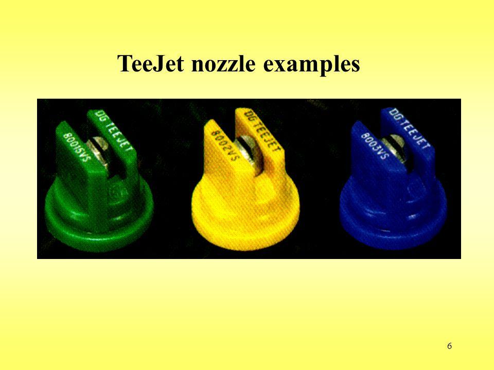 TeeJet nozzle examples