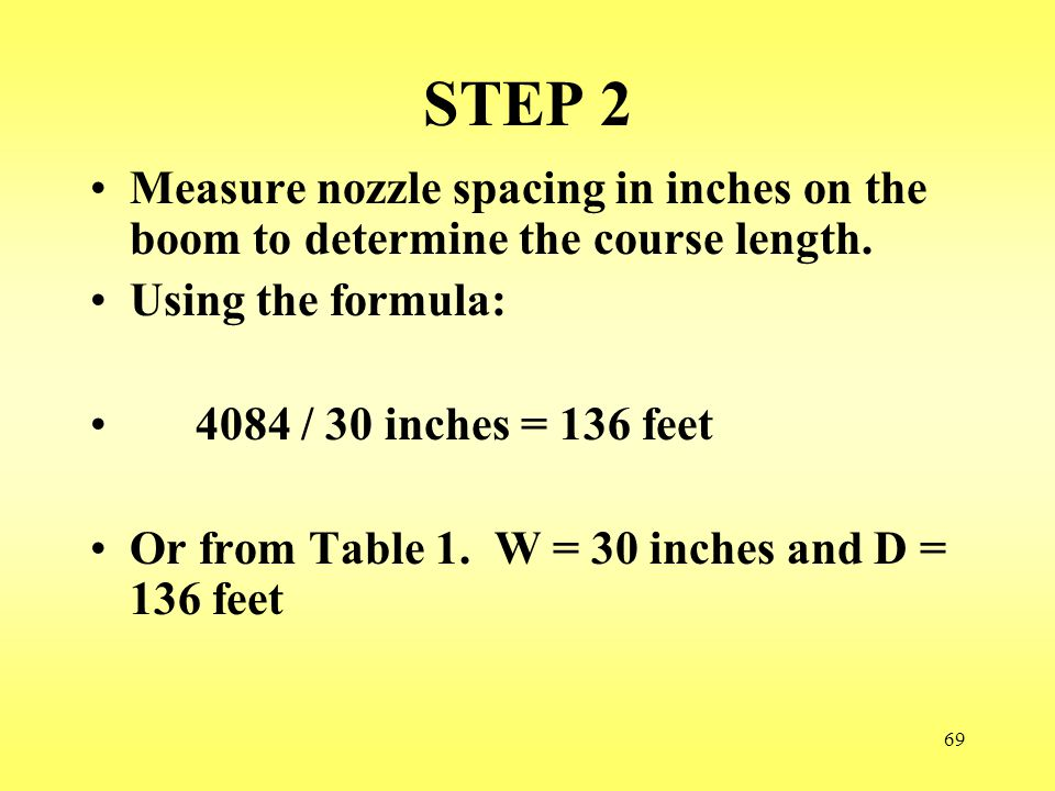 STEP 2 Measure nozzle spacing in inches on the boom to determine the course length. Using the formula:
