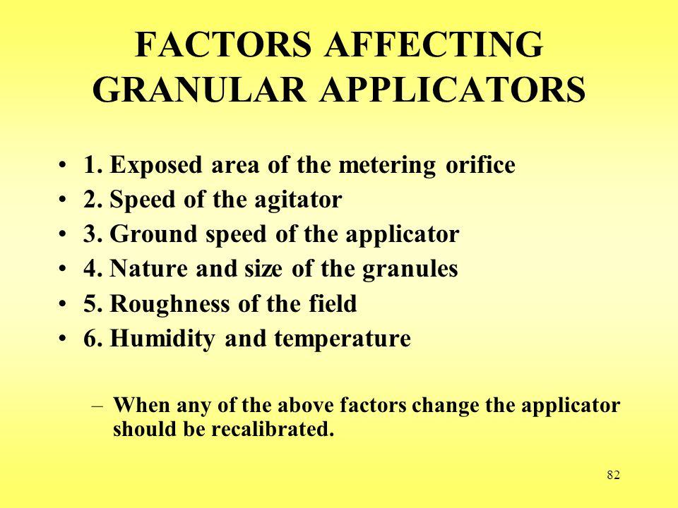 FACTORS AFFECTING GRANULAR APPLICATORS