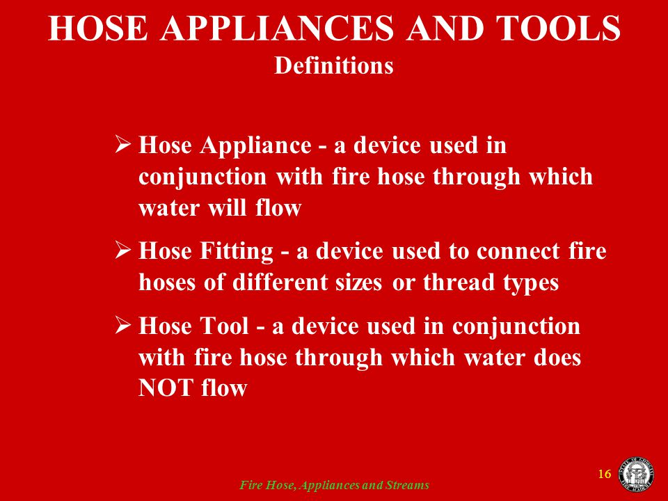 HOSE APPLIANCES AND TOOLS Definitions