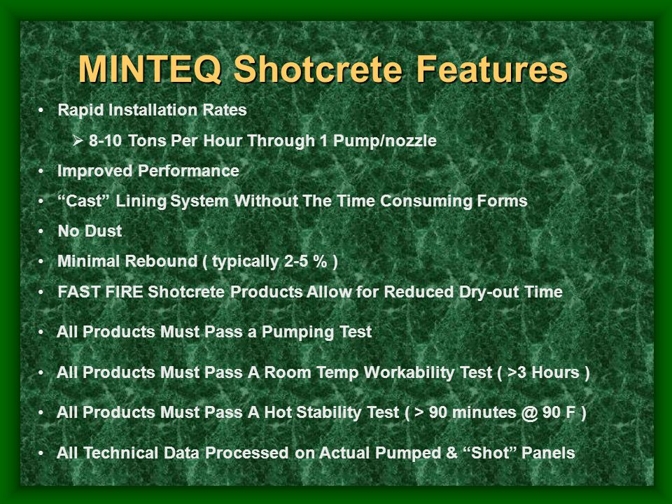 MINTEQ Shotcrete Features