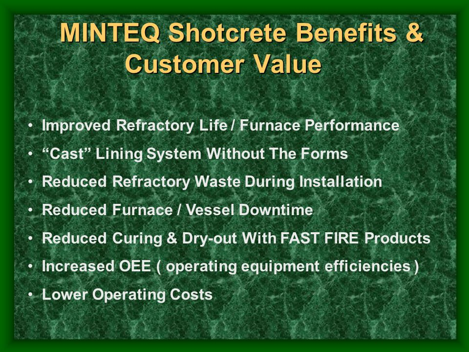 MINTEQ Shotcrete Benefits & Customer Value