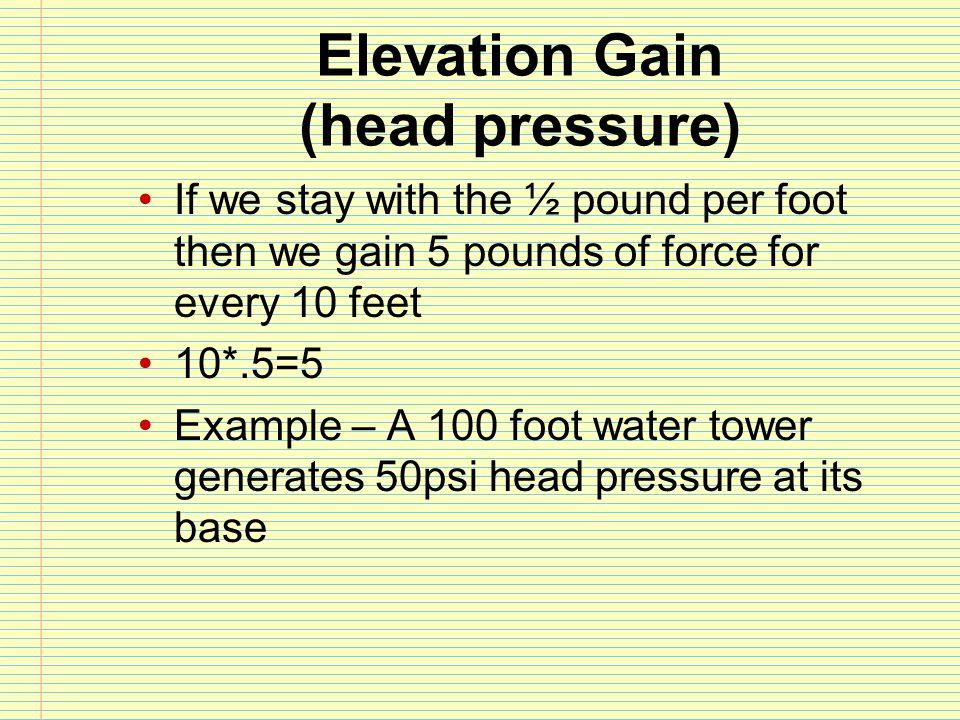 Elevation Gain (head pressure)
