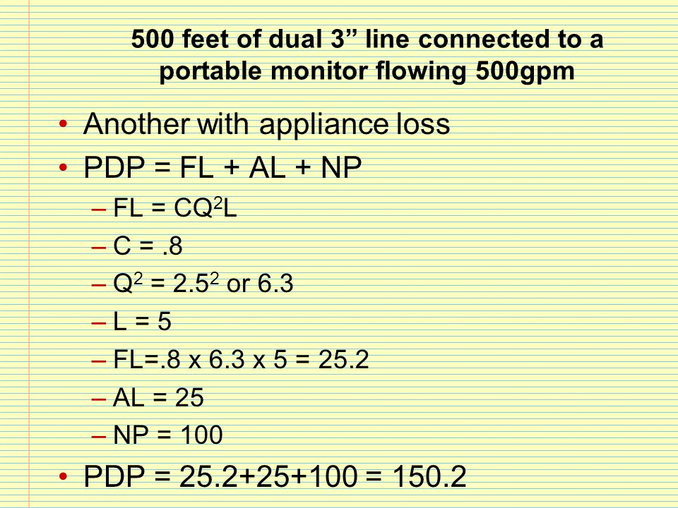 Another with appliance loss PDP = FL + AL + NP