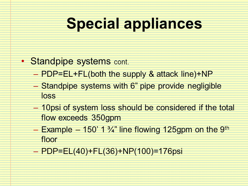 Special appliances Standpipe systems cont.