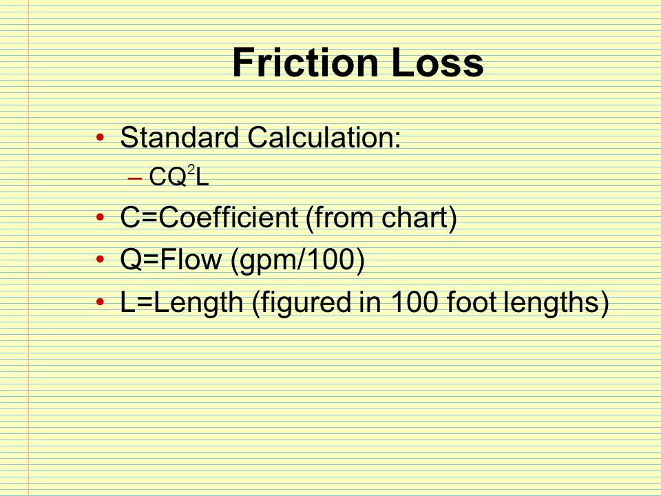 Friction Loss Standard Calculation: C=Coefficient (from chart)
