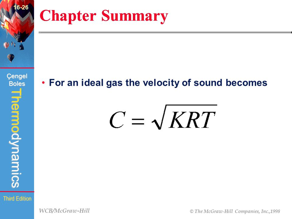 16-26 Chapter Summary For an ideal gas the velocity of sound becomes