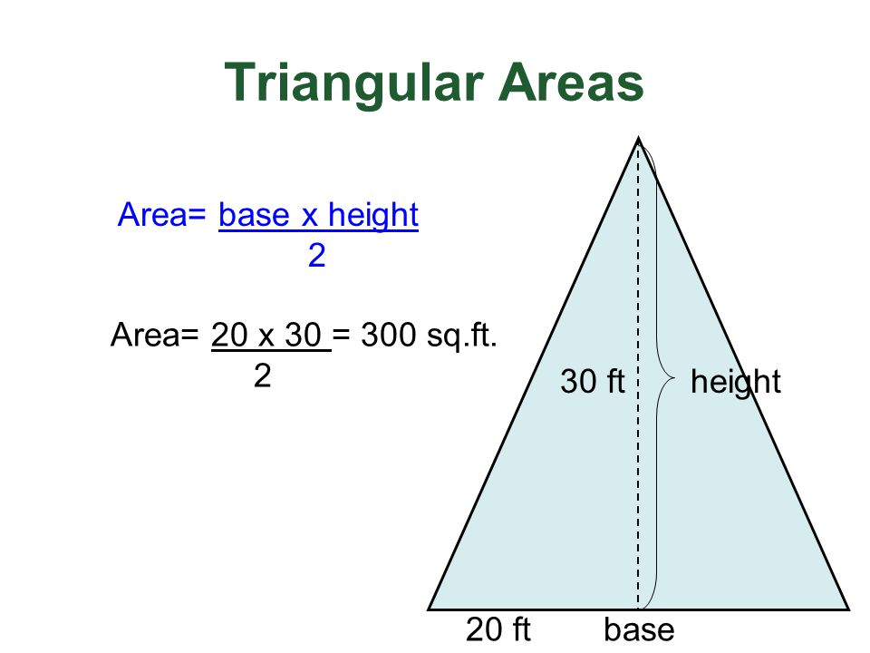 Triangular Areas Area= base x height 2 Area= 20 x 30 = 300 sq.ft. 2