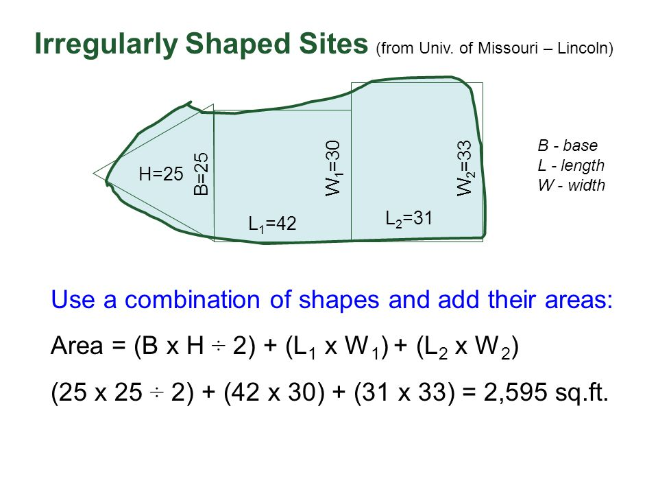 Irregularly Shaped Sites (from Univ. of Missouri – Lincoln)