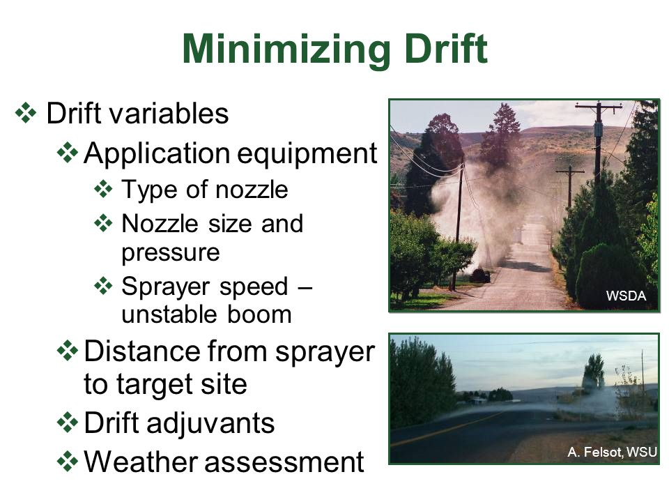 Minimizing Drift Drift variables Application equipment