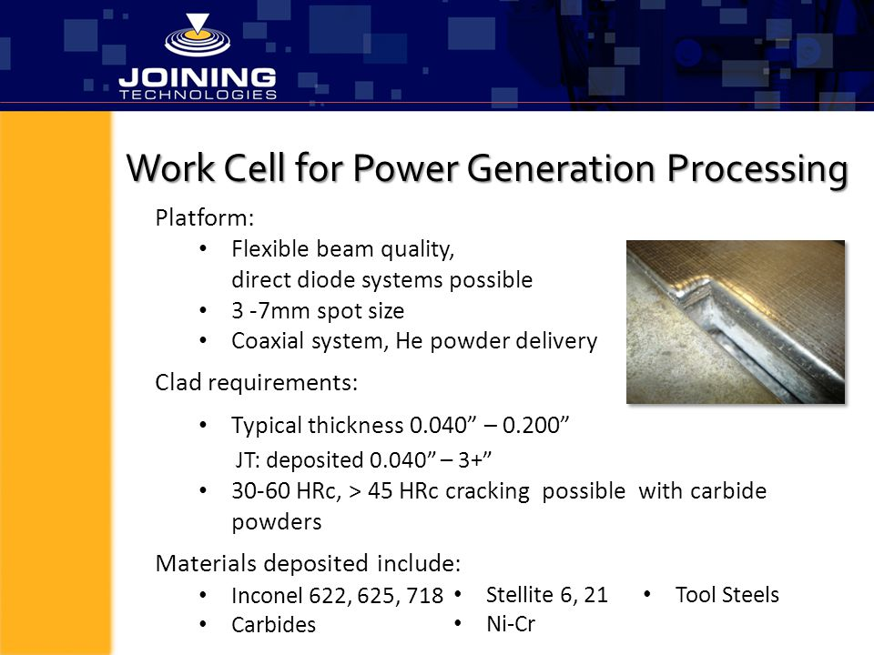 Work Cell for Power Generation Processing