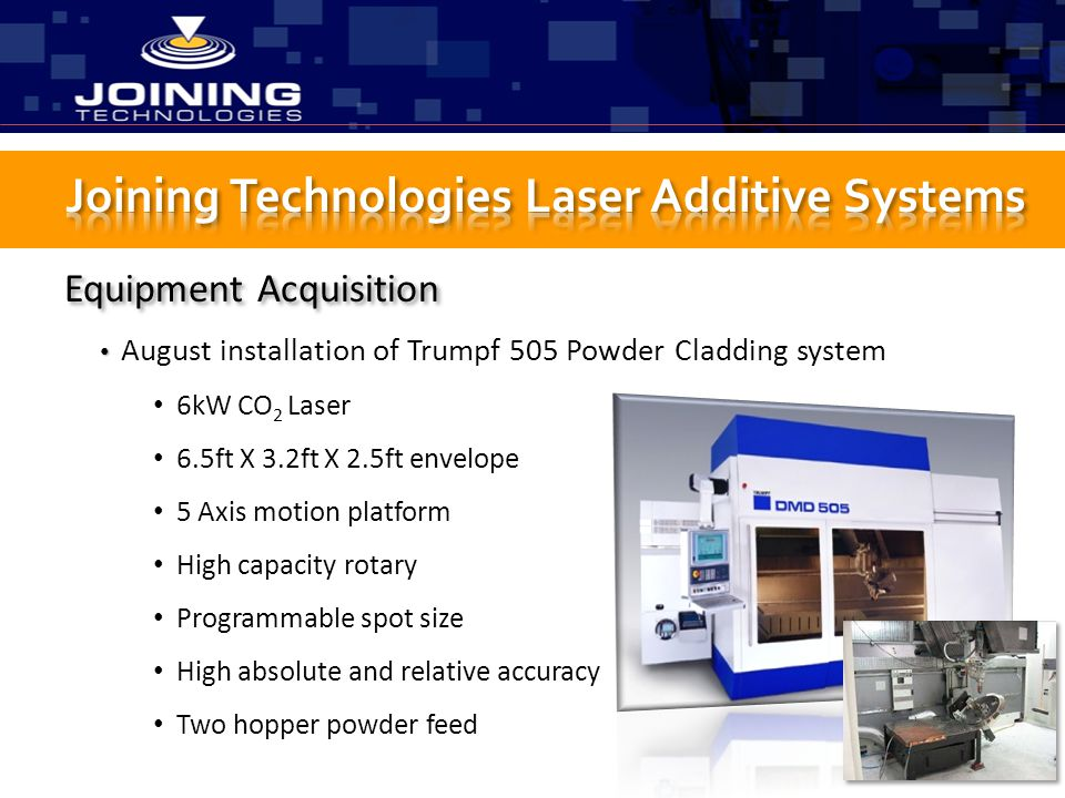 Joining Technologies Laser Additive Systems
