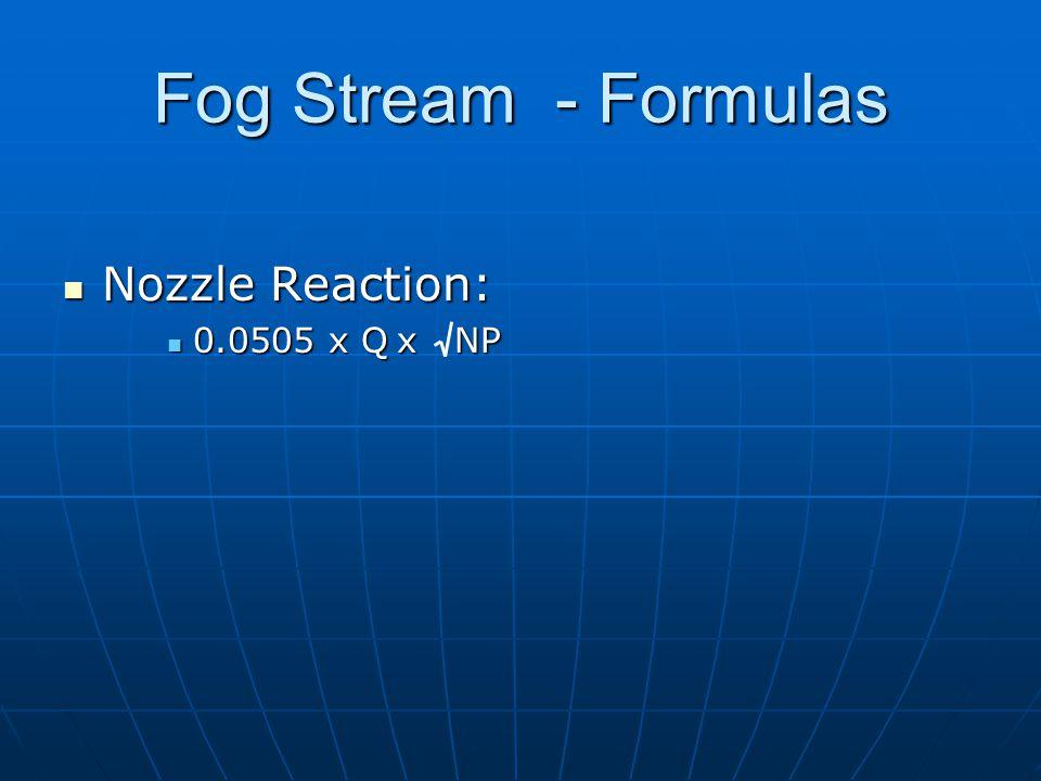 Fog Stream - Formulas Nozzle Reaction: 0.0505 x Q x NP