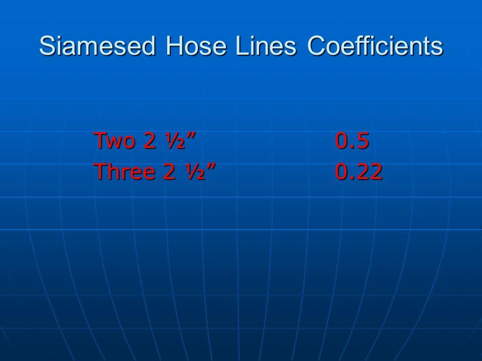 Siamesed Hose Lines Coefficients