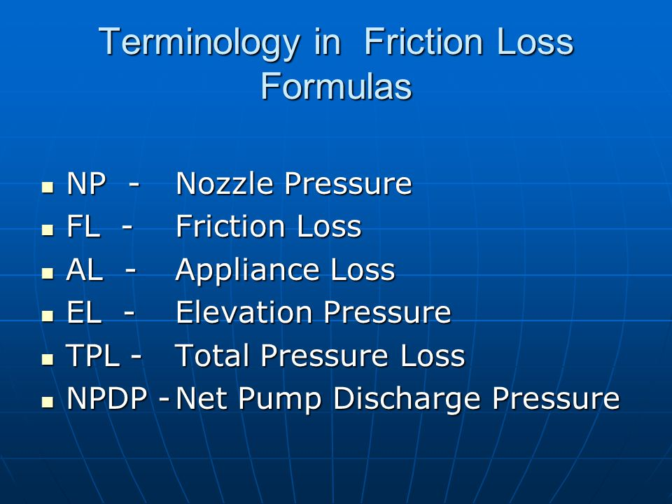 Terminology in Friction Loss Formulas