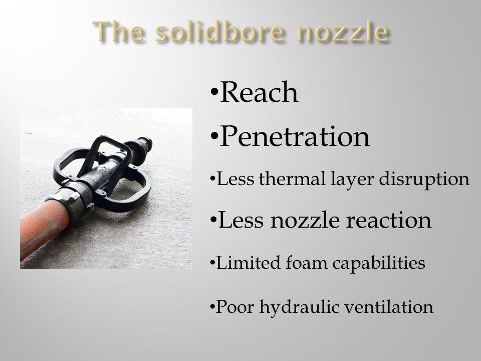 Reach Penetration The solidbore nozzle Less nozzle reaction