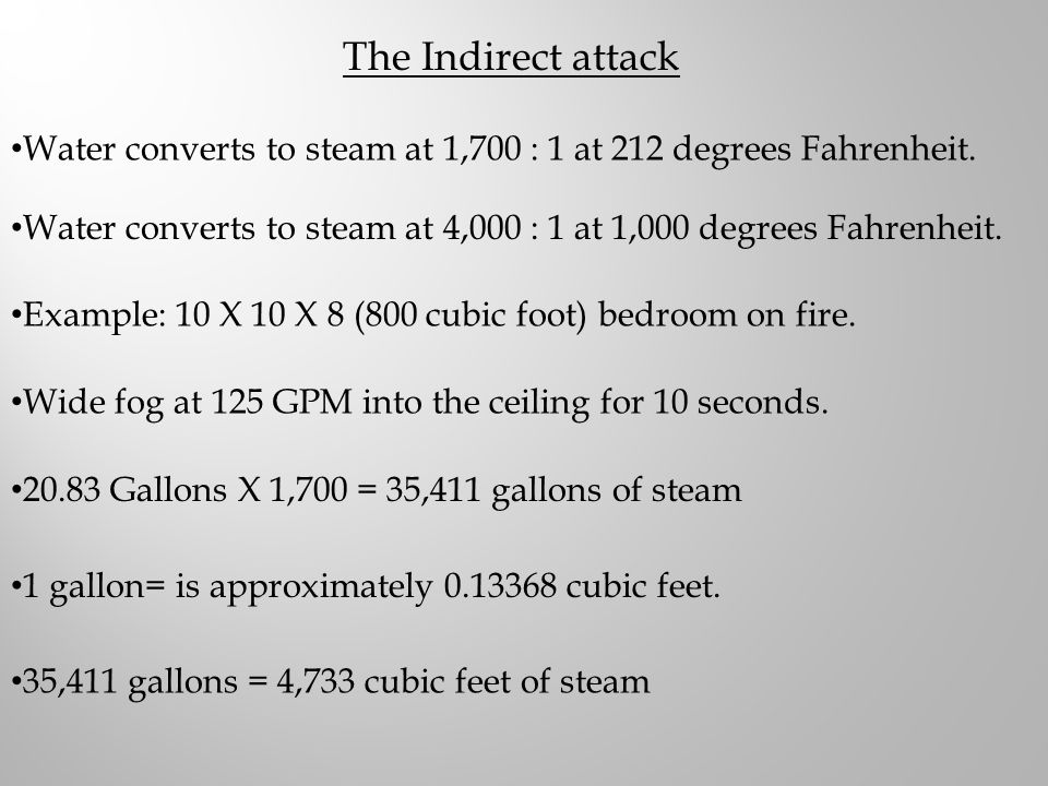 The Indirect attack Water converts to steam at 1,700 : 1 at 212 degrees Fahrenheit.